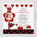 photo red & black ladybug birthday invitation
