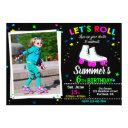 photo roller skate birthday invitation sk8 party