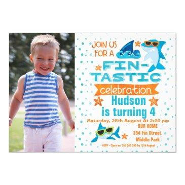 photo sharks fin-tastic birthday invitation