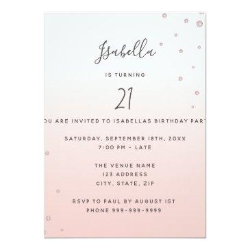 Small Photo Surprise Birthday Party Rose Gold Diamonds Invitation Back View