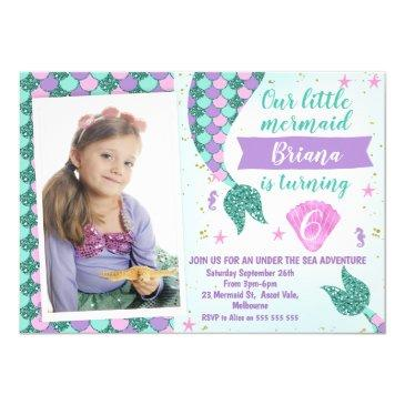 photo teal mermaid tail birthday invitation