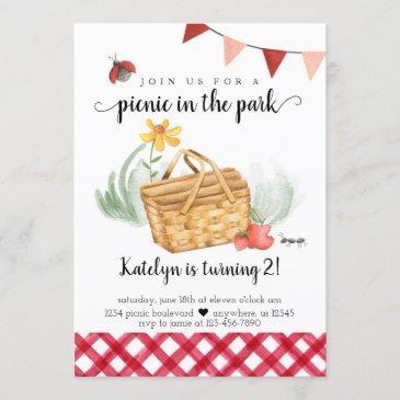picnic birthday invitation for girl
