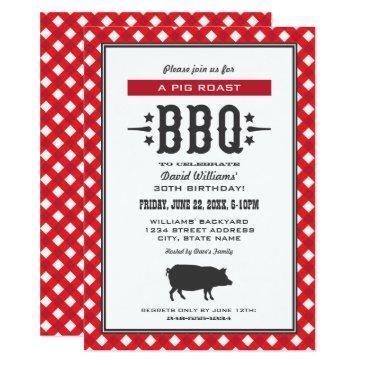 pig roast bbq | red gingham plaid birthday party invitations