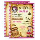 pink ahoy treasure map girls pirate birthday invitations