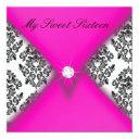pink and black damask sweet sixteen invitation