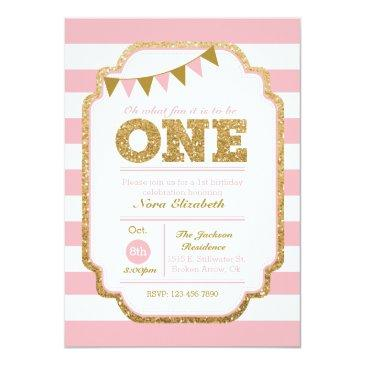 pink and gold first birthday