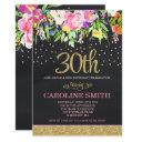 pink and gold floral 30th birthday invitations