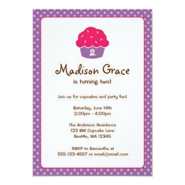 pink and purple cupcake polka dot birthday party invitations
