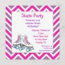 pink and purple roller skate birthday invitation