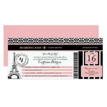 pink black damask paris birthday boarding pass invitation