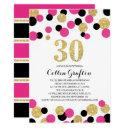 pink, black & gold glitter confetti 30th birthday invitation