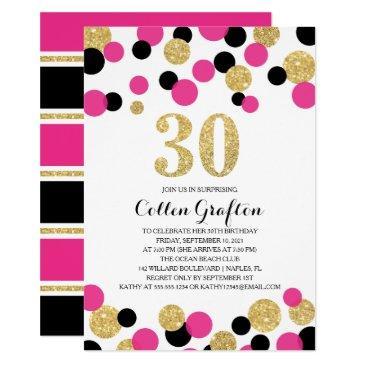 Pink Black Gold Glitter Confetti 30th Birthday Invitations