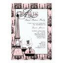 pink black paris chandelier sweet 16 party invitation