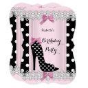 pink black polka dots high heel birthday party invitation
