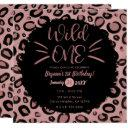 pink & black whiskers wild one 1st birthday party invitation