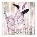 pink black white sweet 16 masquerade party invitation