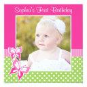 pink butterfly green polka dot 1st birthday photo invitation