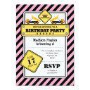 pink construction birthday invitation
