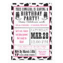 pink cow print cowgirl birthday invitations
