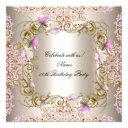 pink cream damask gold flowers birthday party invitation