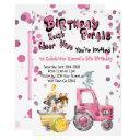pink drive by birthday farm animals invitation