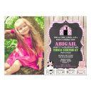 pink farm animals girl birthday photo invitation