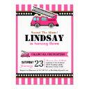 pink fire engine birthday party invitation