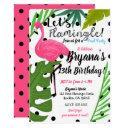 pink flamingo polka dots summer flamingle party invitation