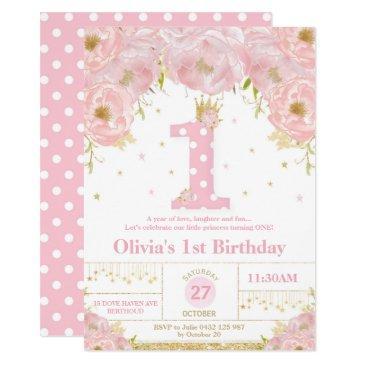 pink floral 1st birthday princess invitation girl