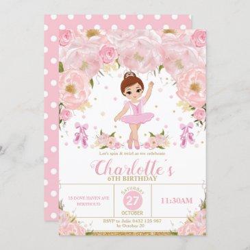 pink floral ballerina birthday tutu ballet dance invitation
