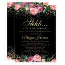 pink floral black gold surprise retirement party invitations