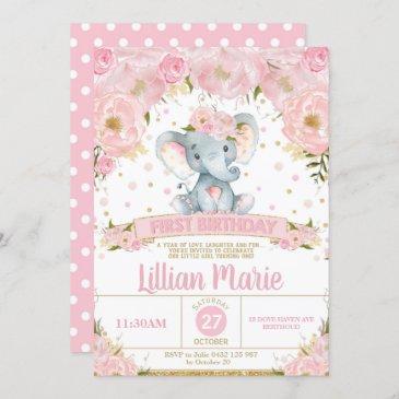 pink floral elephant 1st birthday invitation girl