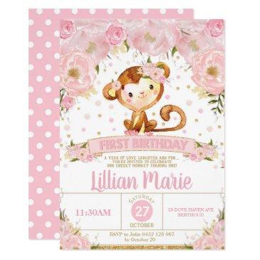 pink floral monkey 1st birthday invitation girl