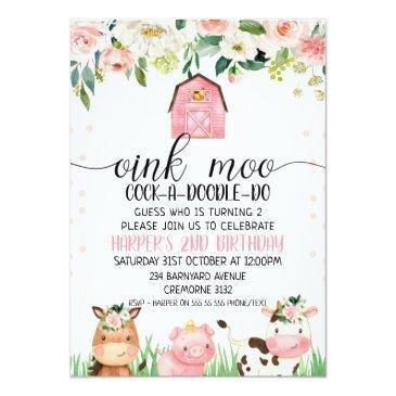 Small Pink Floral Plaid Farm Animal Birthday Invitation Front View