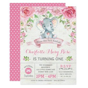 pink floral roses elephant birthday party invite