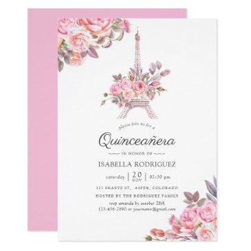 pink floral watercolor paris themed quinceañera invitation