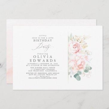 pink flowers and gold leaves elegant birthday invitation