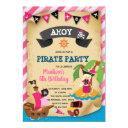 pink girl pirate theme invitations