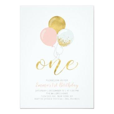 Small Pink & Gold Balloons | One 1st Girl Birthday Party Invitation Front View