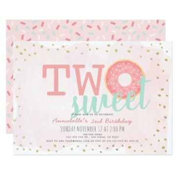 pink & gold donut two sweet girl 2nd birthday invitations