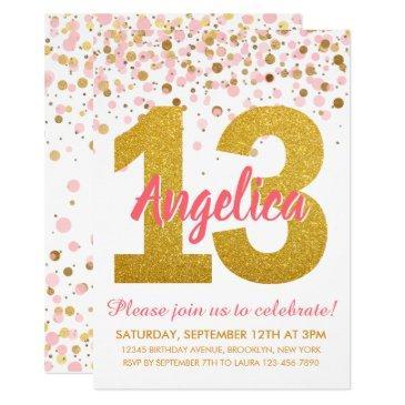 pink gold glitter confetti girl 13th birthday invitation
