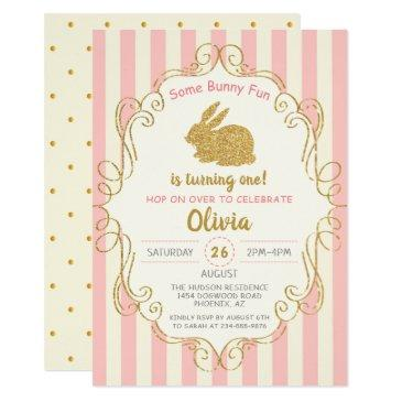 pink gold glitter some bunny birthday invitations
