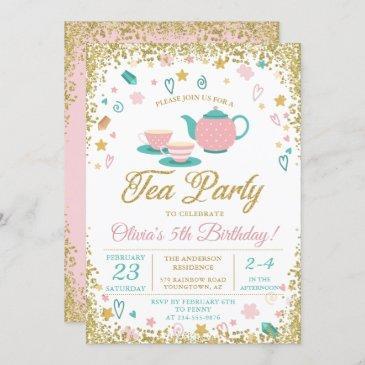 pink gold glitter tea party girls birthday invitation
