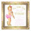 pink gold little lady girls 3rd birthday party invitation