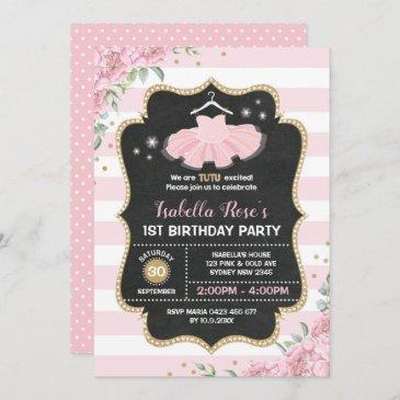 pink & gold tutu ballerina birthday party invite