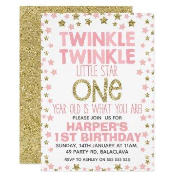 pink gold twinkle little star birthday invitation