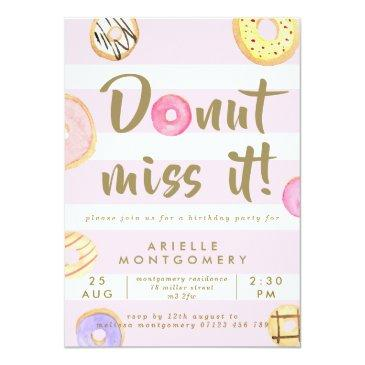 pink & gold watercolor donuts birthday party invitation