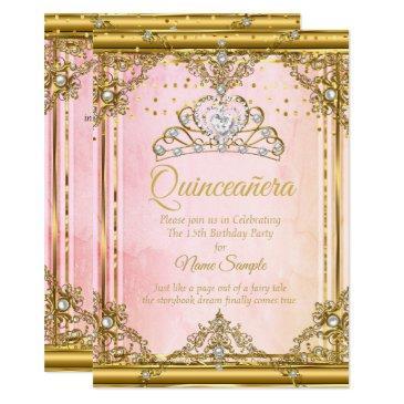 pink gold white pearl tiara quinceanera invite