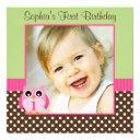 pink green owl polka dot 1st birthday girl photo invitations