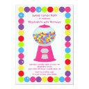 pink gumballs candy bash birthday party invitations